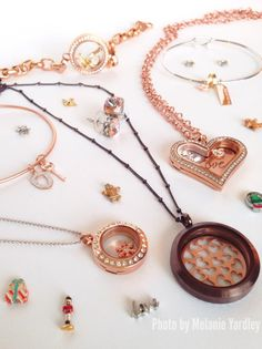 So much to love about #rosegold, and so many looks to create in this warm finish with Origami Owl.