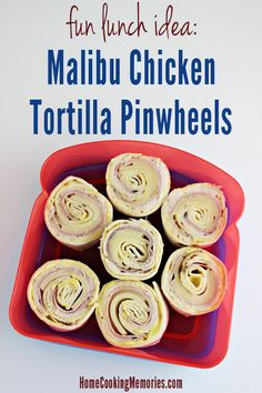 Malibu Chicken Tortilla Pinwheels -- a fun lunch idea that is a great alternative to traditional sandwiches. Inspired by the Malibu Chicken entree at Sizzler restaurants. Lunch Box Recipes, Recipes Dinner, Lunch Ideas, Breakfast Recipes, Dessert Recipes, Tortilla Pinwheels, Chicken Pinwheels, Cooking Recipes, Pasta Recipes