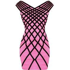 Linear Statement Dress ($120) ❤ liked on Polyvore featuring dresses, pink, vestido, pink dress, geometric pattern dress, form fitting dresses, v-neck dresses and geo print dress