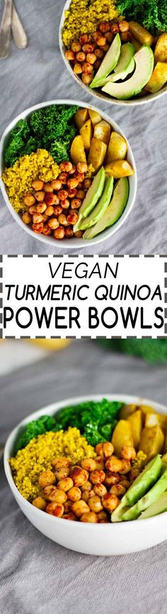 Vegan Turmeric Quinoa Power Bowls! Anti-Inflammatory, nutrient packed, and easy…