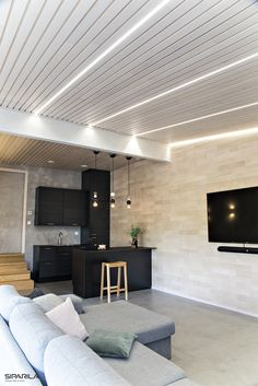 Brand new! Wooden VALO interior panel gives an impression of lath ceiling and beautiful lighting possibilities / Aivan uudella VALO… New Nordic, Wood Lathe, Scandinavian Home, Nordic Design, Wooden Walls, Interior Inspiration, Branding Design, Ceiling, Led