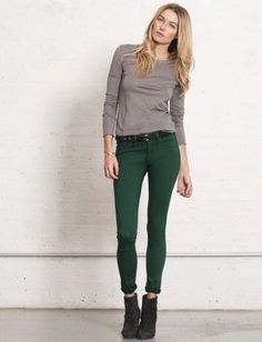 I love wearing my emerald green pants with a grey long-sleeved shirt. Plus, Emerald Green is Pantone's 2013 Color of the Year: Lucky Magazine