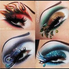 """From Sugarpill's Instagram:  """"Woweee! @Debbie Davenport used #Sugarpill eyeshadows to create these amazing looks based on the 4 Elements. Which is your favorite? They're all pretty bad-ass! #eotd #makeupart"""""""
