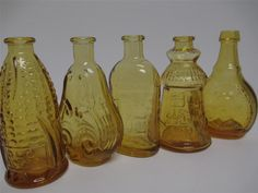 5 Wheaton Glass AMBER Vintage Miniature Bottles by morgansbounty, $19.99