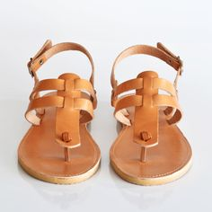 These gladiator sandals will add a lift to your entire wardrobe. A unique personal design, made with high quality soft leather is the perfect wear-anywhere. Run, walk or hike with these absolutely comfy sandals. Pretty Sandals, Boho Sandals, T Strap Sandals, Women's Shoes Sandals, Women Sandals, Shoes Women, Flats, Leather Sandals Flat, Leather Slippers