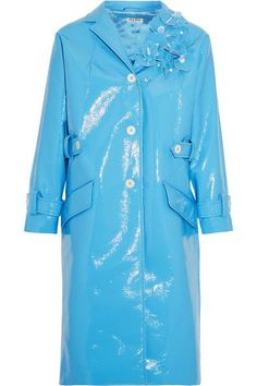Light-blue faux patent-leather Button fastenings through front 100% polyester; lining: 100% viscose Spot clean Mother-of-pearl: Indonesia  Made in Italy