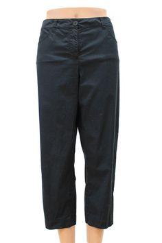 Eileen Fisher Classic 5 Pocket Black Cotton Capri Pants Size M