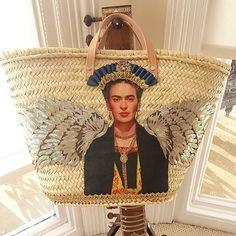 4 hours after I started. This new Frida basket is complete and ready to ship tonorrow. Now on to a new kind of flower basket. #bags #strawbasket #crafts #haberdashery #handmade #strawbag #fridakahlo #handmadegifts #boho #bohostyle #style #instafashion #marketbasket #beachbag