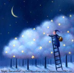Sleepy time illustration by Pete Revonkorpi Art And Illustration, Story Starter, Art Carte, Good Night Moon, Sun And Stars, Beautiful Moon, Moon Art, Whimsical Art, Night Skies