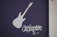Guitar Vinyl Wall Decal for the Bedroom Playroom by DecalsEnFolie, $17.99