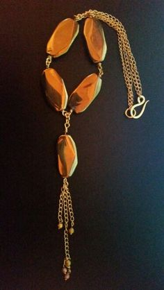 Gold plated Agate slabs with gold plated chain and s-hook.