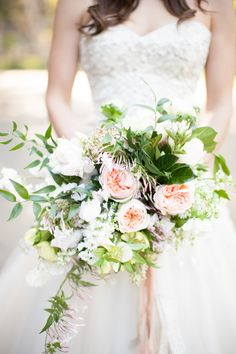 Lovely Mixed Floral Bouquet by SweetMarieDesigns.com -- http://www.StyleMePretty.com/2014/04/15/garden-glamour-inspiration-shoot/ Photography: Diana McGregor - dianamcgregor.com
