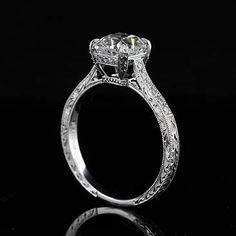 Diamond Platinum Art Deco Replica Engraved Cushion Engagement Ring...I must have lived in another life during the Art Deco period...just hope I was a Gatsby!
