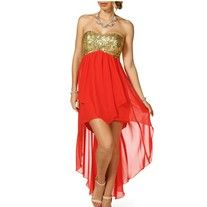 New Windsor Red and Gold Sequin Strapless High Low Dress