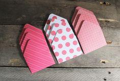 Gift Card Envelopes - Mini Envelopes - Set of 12 - Tiny Envelope - Business Card Envelopes - Pink and White  Envelopes - Money Envelopes