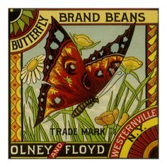 Vintage Butterfly Brand Beans Vegetable Label Art Posters