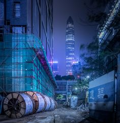 Cyberpunk inspired, ultraviolet photography of Hong Kong, Shenzhen and Seoul at midnight