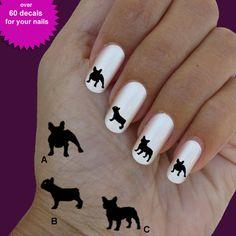 Bulldog french, nail art, nail decal, set of 60 waterslide nail decal  #dog015