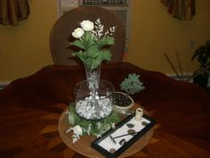 The final (yeah, right!) edit of the centerpieces I made for our Civil Union reception in June. Live Bonsai tree, miniature Zen garden with a small Buddha figure, glass bowl centerpieces with Beta fish on a bamboo mat.