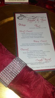 Red and Black Wedding Menus by DGCreationsByLauri on Etsy, $1.75