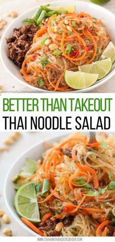 Healthy Meal Prep, Healthy Salad Recipes, Paleo Recipes, Thai Glass Noodle Salad, Cold Noodle Salads, Asian Cold Noodle Salad, Thai Beef Salad, Spicy Thai, Asian Recipes