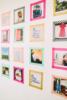 PHOTO CRAFT ~ Love this colourful wall of photos, with Washi tape providing the frame for the photos. I know my girls would love something like this in their rooms.