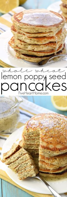 Whole Wheat Lemon Poppy Seed Pancakes ~ wholesome and delicious pancakes drizzled with a scrumptious Lemon Poppy Seed Syrup make a lovely spring or summer breakfast! | FiveHeartHome.com via @fivehearthome