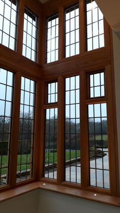 Double height Oak bay window with leaded double glazed units Timber Windows, Bay Window, Surrey, Joinery, The Unit, Spaces, Ideas, Home, Interiors