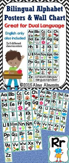 Bilingual Alphabet Wall Chart and Posters Great for Dual Language, Bilingual, or regular English classrooms. Letter sounds work for both English and Spanish... Created by Alma Almazan