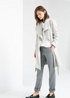 Lapels wool-blend coat