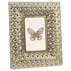 Glass picture frame with diamond motif.   Product: Picture frameConstruction Material: GlassColor: Sil...