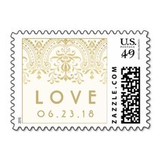"""Elegant vintage inspired wedding """"Love"""" postage stamps feature an ornate decorative border design with a metallic champagne gold shimmer appearance and custom text for the wedding date."""
