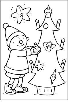 Kleurplaat Pompom kerstmis