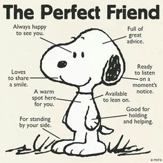 Snoopy, Dogs, The perfect friend Comics Peanuts, Peanuts Cartoon, Peanuts Snoopy, Peanuts Quotes, Snoopy Quotes, Snoopy Pictures, Funny Quotes, Life Quotes, Friend Quotes