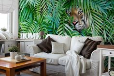 If you love palm leaves and tigers, see this custom-made Tiger Hide and Seek wall mural. Palm Leaf Wallpaper, Tropical Wallpaper, Kitchen Colors, Designer Wallpaper, Wall Murals, Couch, Throw Pillows, Bed, Interior