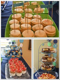 3rd Birthday, Pajamas & Pancakes, Pajamas, Pancakes, Birthday Party, Pajama & Pancake Party, Boys Pajama & Pancake Party, food table, donuts, pancakes, cupcake stand,
