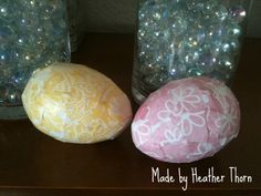 Easter decoupage eggs. Pretty scrapbook paper layered over large cheap plastic eggs.  These were inspired by  http://www.alittletipsy.com/2010/03/11-ways-to-decorate-plastic-easter-eggs.html