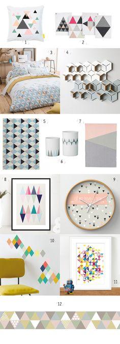 décoration, inspiration, scandinave, vintage, retro, geometrique, triangle, maison, coussin, linge de maison, origami, guirlande, etageres, tapis, peinture, shopping