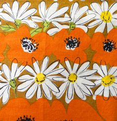 Vintage Vera Tea Towel Poppies and Daisies by Chixycoco on Etsy
