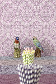 Rosalia Damask fabric and wallpaper by Osborne & Little www.osborneandlittle.com