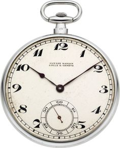 Timepieces:Pocket (post 1900), Ulysse Nardin Fine Platinum Gent's Pocket Watch, circa 1915. ... Image #1