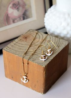 "NAUTICA Jewelry Set = ""Refuse to Sink"" Anchor Necklace & Earrings / White Nautical Charm Gold Rope Chain Necklace / Perfect gift for Her by MaisonMagnolia on Etsy"