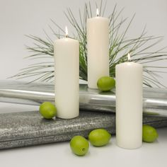 3x9 Pillar Candle (case of 6) - White - Candles - Wedding Candles - 1