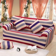 AOGUHOME STORE Colorful Striped Sofa Protector Cover Polyester/spandex Sofa  Slipcovers For Living Room Modern Couch Covers Four Three One Two