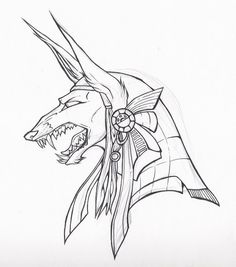 Collab ish : Anubis by ~MasochistMarchHare Egypt Tattoo, Body Art Tattoos, Sketches, Anubis Drawing, Skull Art, Art Drawings, Drawings, Art, Egyptian Drawings