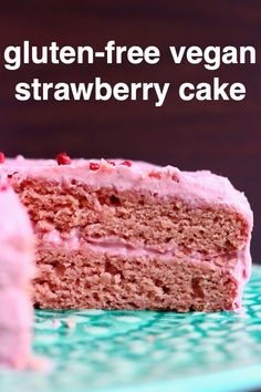 This Gluten-Free Vegan Strawberry Cake is fresh and fruity, full of strawberry flavour and naturally coloured! A fluffy strawberry-infused sponge with creamy strawberry frosting. Vegan Gluten Free Desserts, Gluten Free Cakes, Vegan Dessert Recipes, Vegan Treats, Egg Free Cakes, Strawberry Cake Recipes, Strawberry Frosting, Strawberry Jam, Vegan Baking