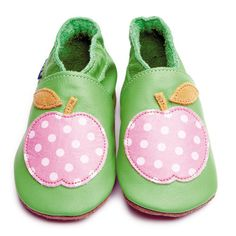 Green Girls Shoes with Pink Polka Dot Apple by Inch Blue £17