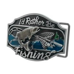 Adult Unisex I'd Rather be Fishing Redneck Bass Sport Belt Buckle