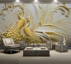 Mural Wallpaper Stereoscopic Embossed Golden Peacock Wallpaper - Wallpaper World Peacock Wall Art, 3d Wallpaper For Walls, View Wallpaper, Photo Wallpaper, 3d Wallpaper Living Room, Golden Wallpaper, Peacock Decor, Widescreen Wallpaper, Wall Art