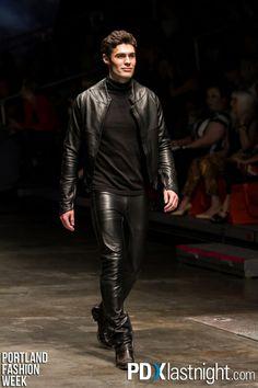 Portland Fashion Week, leahter pants, leather Jacket with sleeveless tneck , www.builtforman.com